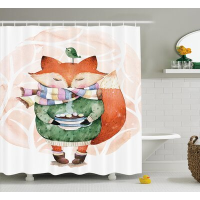 Belby Cute Fox and Bird Shower Curtain Size: 69 W x 70 L