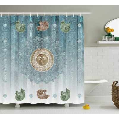 Beecroft Totem Zen Boho Sun Cats Shower Curtain Size: 69 W x 70 L