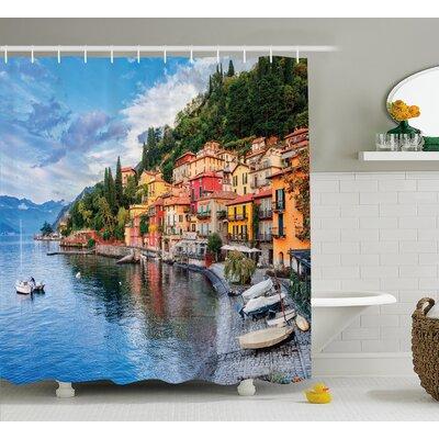 Italian Yacht Boat Idyllic Town Shower Curtain Size: 69 W x 75 L