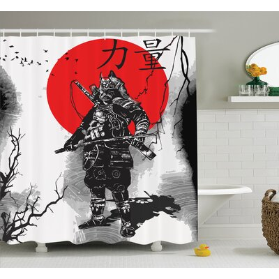Japanese Portrait of A Warrior Shower Curtain Size: 69 W x 75 L