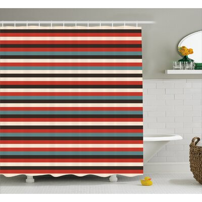 Brookside Vintage 60s Red Black Shower Curtain Size: 69 W x 75 L