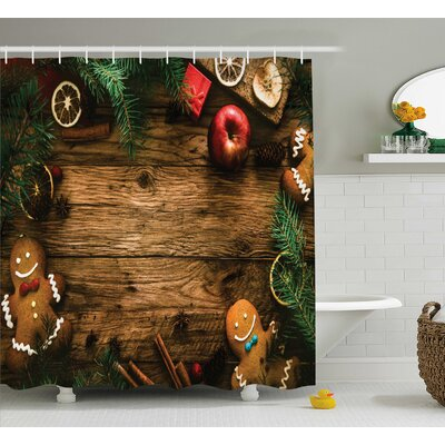 Christmas Rustic Lodge Wood Shower Curtain Size: 69 W x 70 L