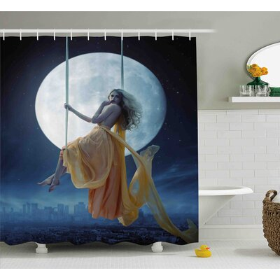 Space Swing in the Sky Moon Shower Curtain Size: 69 W x 84 L