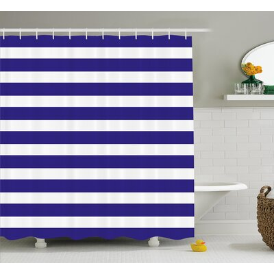 Zana Navy Nautical Marine Shower Curtain Size: 69 W x 84 L