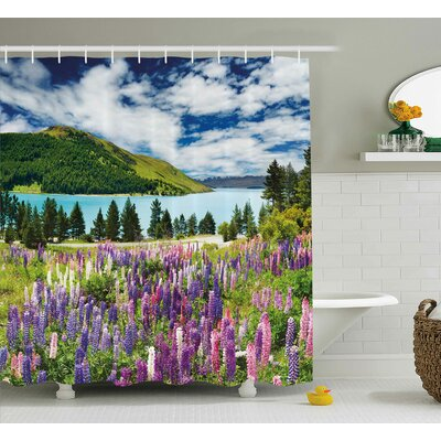 Bleeker Lake Floral Petals Decor Shower Curtain Size: 69 W x 70 L