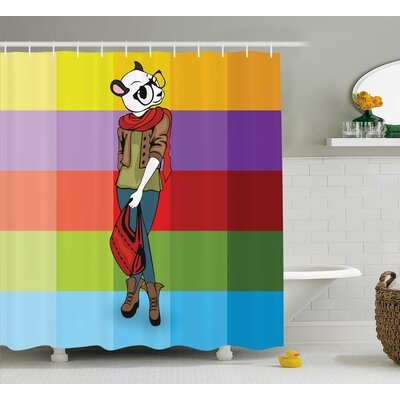 Emerfield Cartoon Fox Fashion Funny Shower Curtain Size: 69 W x 75 L