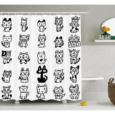 Balzer Cats with Happy Faces Shower Curtain Size: 69 W x 70 L