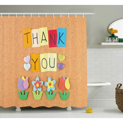 Jamel Posts Thank You Letters Shower Curtain Size: 69 W x 70 L