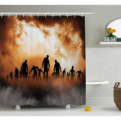Halloween Decor Zombies Misty Shower Curtain Size: 69 W x 84 L