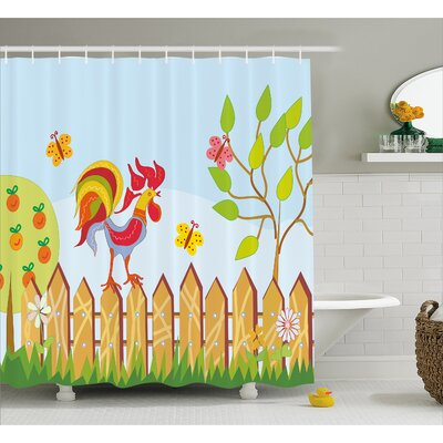Luther Tree Butterfly and Flower Shower Curtain Size: 69 W x 84 L