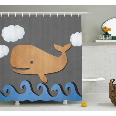 Lottie Wooden Paper Base Whale Shower Curtain Size: 69 W x 70 L