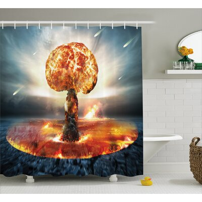 Fabric Atomic Bomb Explosion Shower Curtain Size: 69 W x 70 L