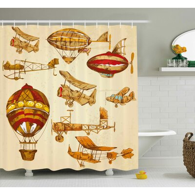Glenwood Vintage Baloons Planes Shower Curtain Size: 69 W x 70 L
