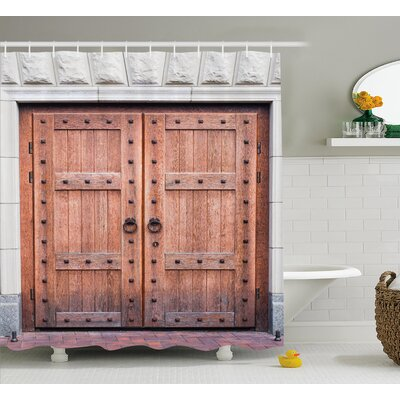 Rustic Antique French Wood Door Shower Curtain Size: 69 W x 84 L