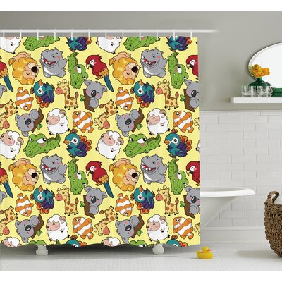 Julian Hippo Giraffe Koala Shower Curtain Size: 69 W x 84 L