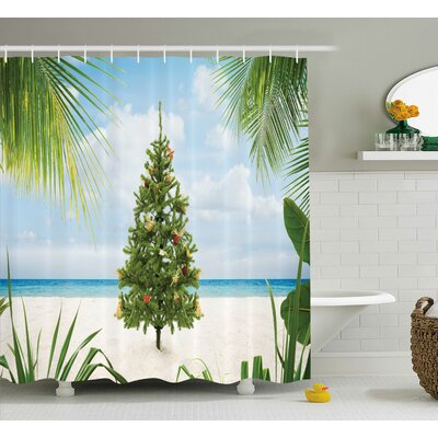 Christmas Holiday Party Tree Shower Curtain Size: 69 W x 84 L
