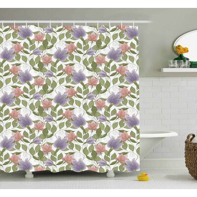 Burnes Pastel Tulip Flowers Shower Curtain Size: 69 W x 84 L