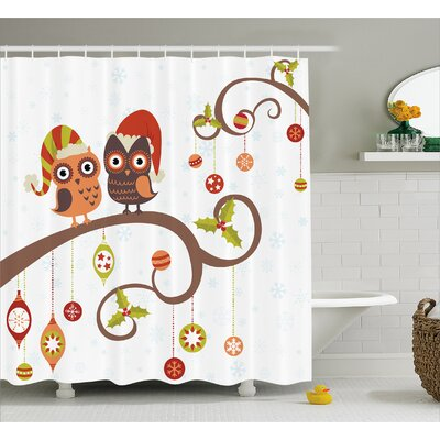 Christmas Noel Owls Folkloric Shower Curtain Size: 69 W x 84 L
