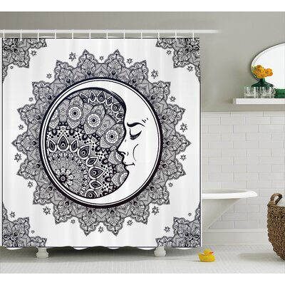 Zodiac Boho Star Moon Mandala Shower Curtain Size: 69 W x 75 L