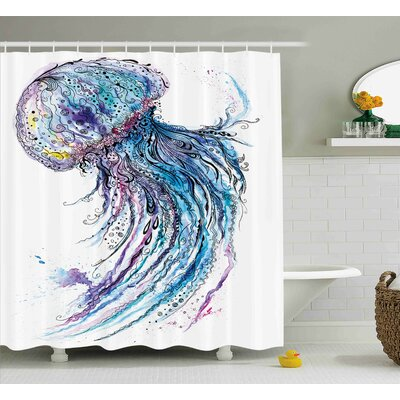 Calantha Aqua Colors Creative Shower Curtain Size: 69 W x 70 L