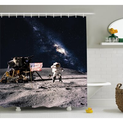 Rocket Travelling Space Shower Curtain Size: 69 W x 70 L