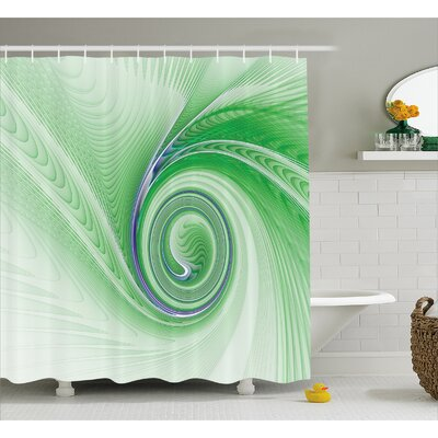 Aleshia Abstract Fractal Spirals Shower Curtain Size: 69 W x 84 L