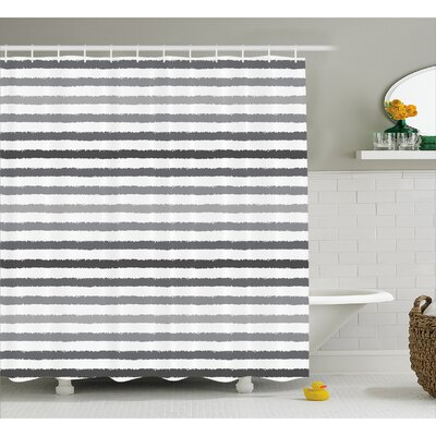 Stephane Gray and White Grunge Shower Curtain Size: 69 W x 75 L