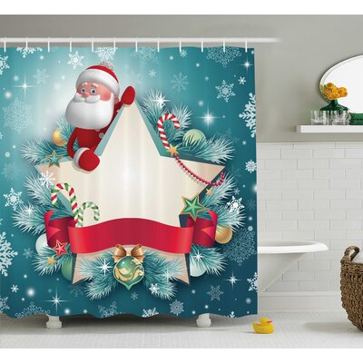 Christmas Santa Star Snowflake Shower Curtain Size: 69 W x 84 L