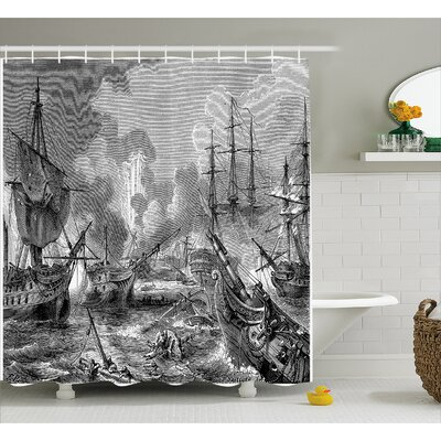 Gray Naval Battle Vintage War Shower Curtain Size: 69 W x 84 L