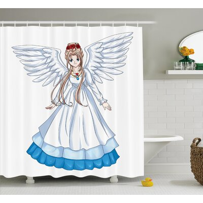 Anime Decor Cartoon with Wings Shower Curtain Size: 69 W x 84 L