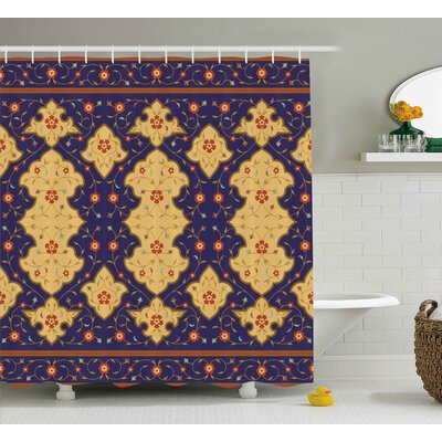 Andreas Arabic Effected Border Shower Curtain Size: 69 W x 84 L