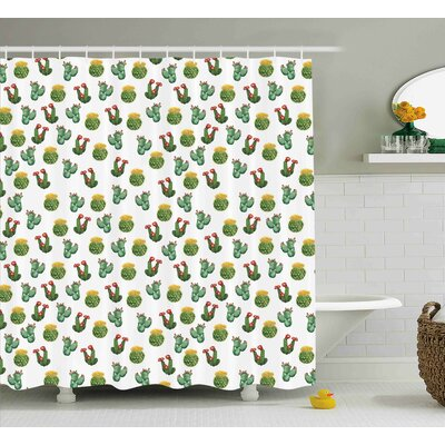 Courtlyn Cactus and Suculent Print Shower Curtain Size: 69 W x 70 L
