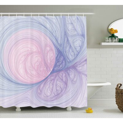 Purple Abstract Fractal Shapes Shower Curtain Size: 69 W x 75 L