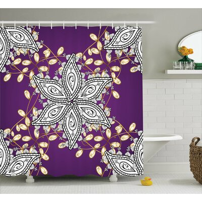 Althom Vintage Floral Petals Shower Curtain Size: 69 W x 84 L