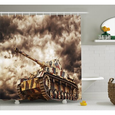 Fabric Tank Battle War Cloudy Shower Curtain Size: 69 W x 75 L