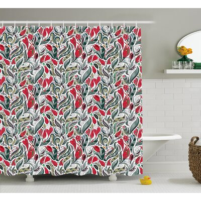 Bechtold Colored Boho Flowers Leaf Shower Curtain Size: 69 W x 84 L