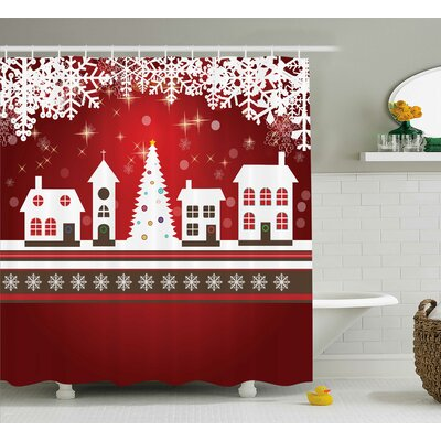 Christmas Winter Theme Tree Shower Curtain Size: 69 W x 84 L