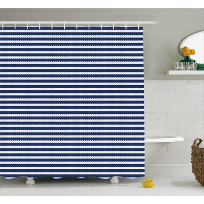 Zana Rope Stripes Pattern Shower Curtain Size: 69 W x 84 L