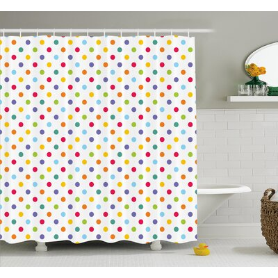 Zakary Colorful Polka Dots Shower Curtain Size: 69 W x 70 L