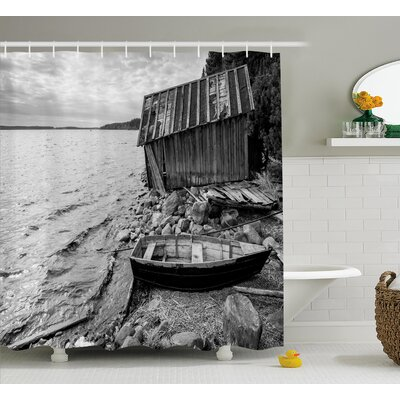Black and White Fishing Boat Shower Curtain Size: 69 W x 70 L