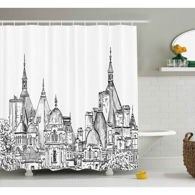 Blondelle Sketchy Art Landmark Shower Curtain Size: 69 W x 75 L