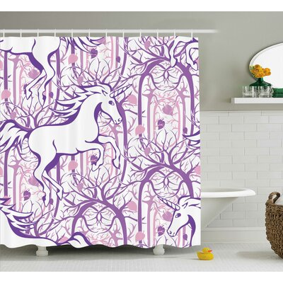 Unicorn Magic Fairytale Forest Shower Curtain Size: 69 W x 84 L