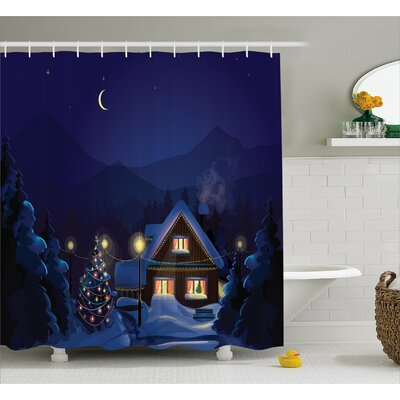 Christmas Winter Home and Tree Shower Curtain Size: 69