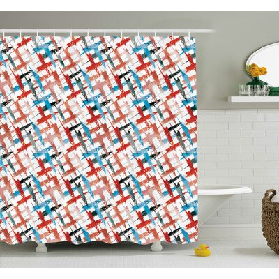 Emilio Grunge Graffiti Pattern Shower Curtain Size: 69 W x 84 L