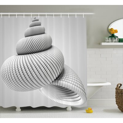 White Shell Shaped Figure Shower Curtain Size: 69 W x 70 L