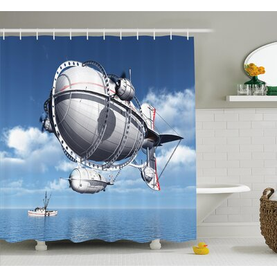 Aviation Sea Flying Cloudy Sky Shower Curtain Size: 69 W x 75 L