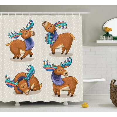 Julianne Friendly Nursery Kids Shower Curtain Size: 69 W x 84 L