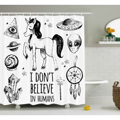 Unicorn Occult with Pyramids Shower Curtain Size: 69 W x 84 L
