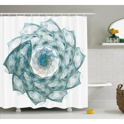Teal Exquisite Flower Shaped Shower Curtain Size: 69 W x 75 L