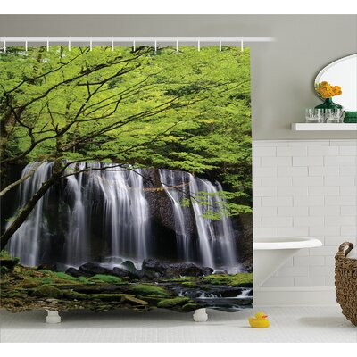 Scenery Rock Tree in Waterfall Shower Curtain Size: 69 W x 75 L